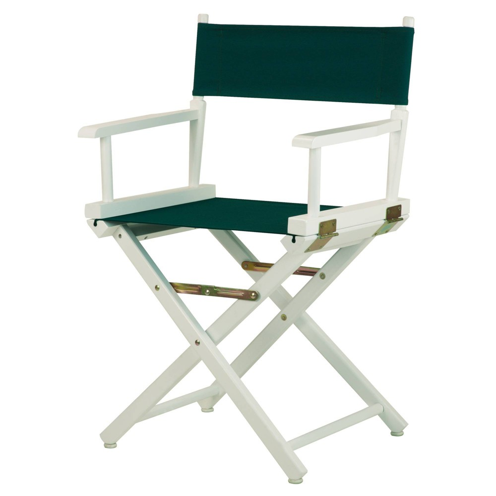 Director S Chair White Frame Green Canvas