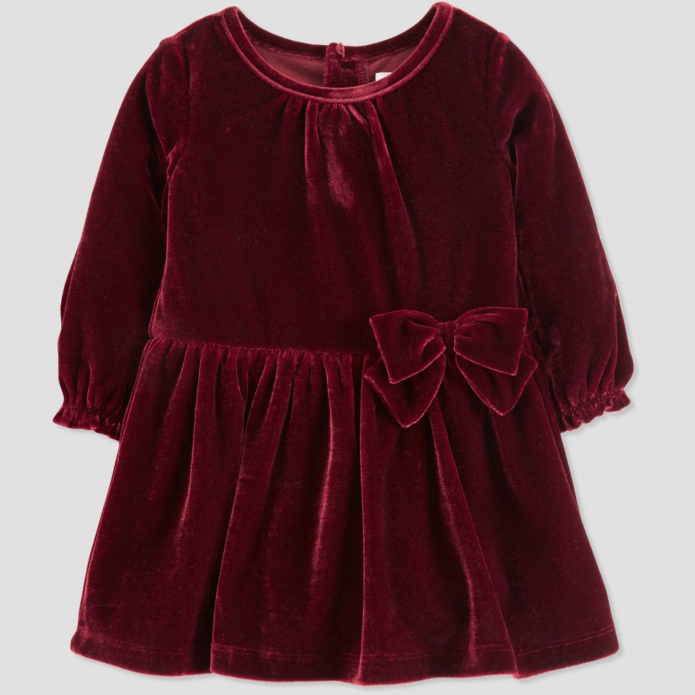 Vintage Style Children's Clothing: Girls, Boys, Baby, Toddler Toddler Girls Velvet Holiday Dressy Dress - Just One You made by carters Burgundy 4T Red $18.99 AT vintagedancer.com