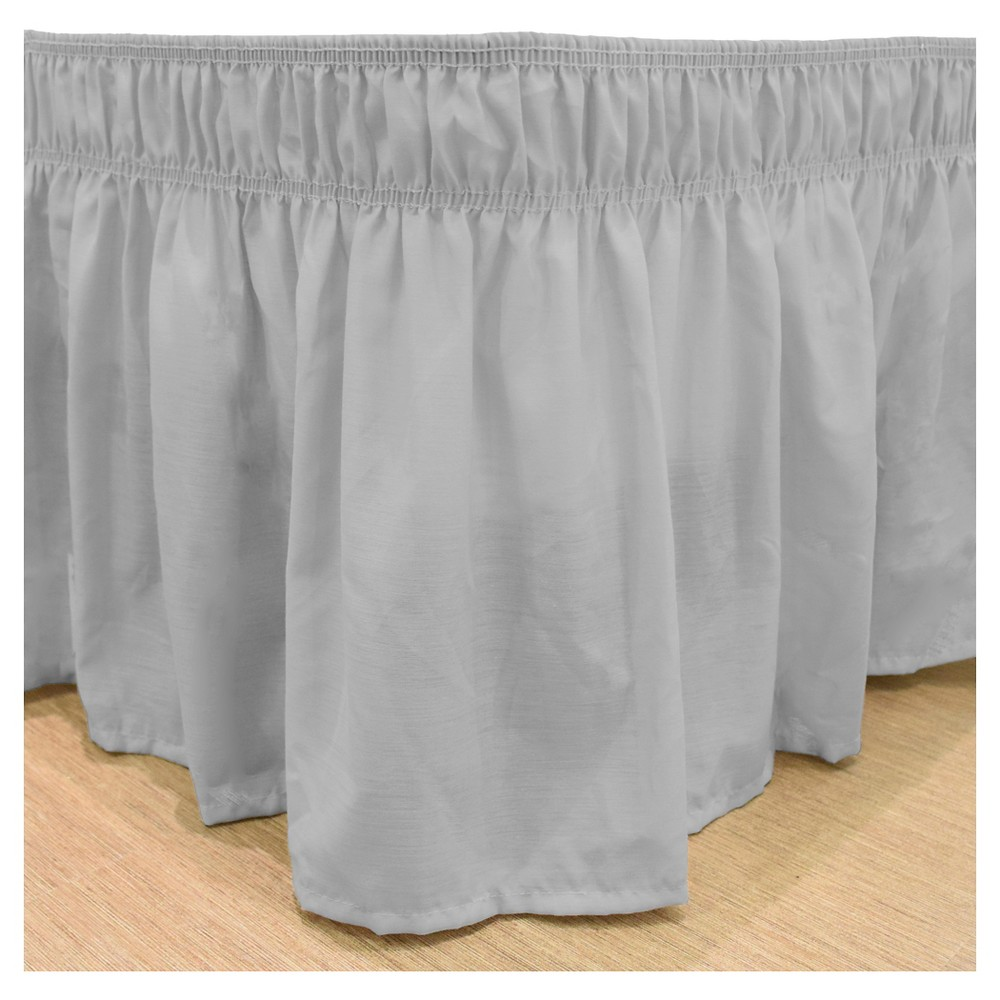 "Image of ""Gray Wrap Around Solid Ruffled Bed Skirt (Queen/King) (80""""X60"""") -EasyFit"""
