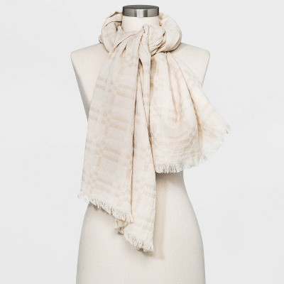 Women's Plaid Oversized Square Scarf - Universal Thread™ Cream