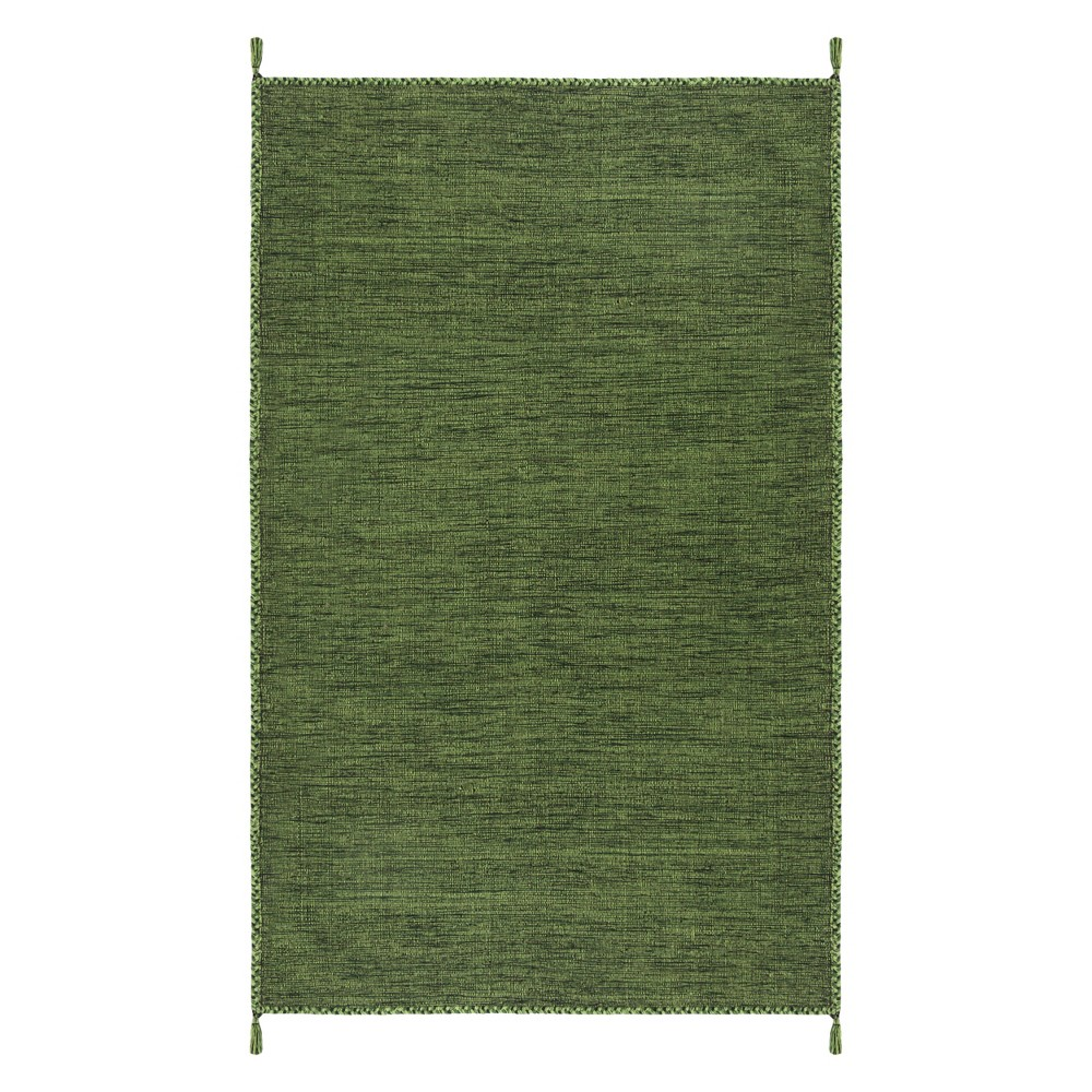 5'X8' Solid Woven Area Rug Green/Black - Safavieh