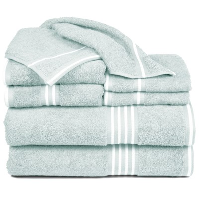8pc Striped Bath Towel Set Aqua - Yorkshire Home