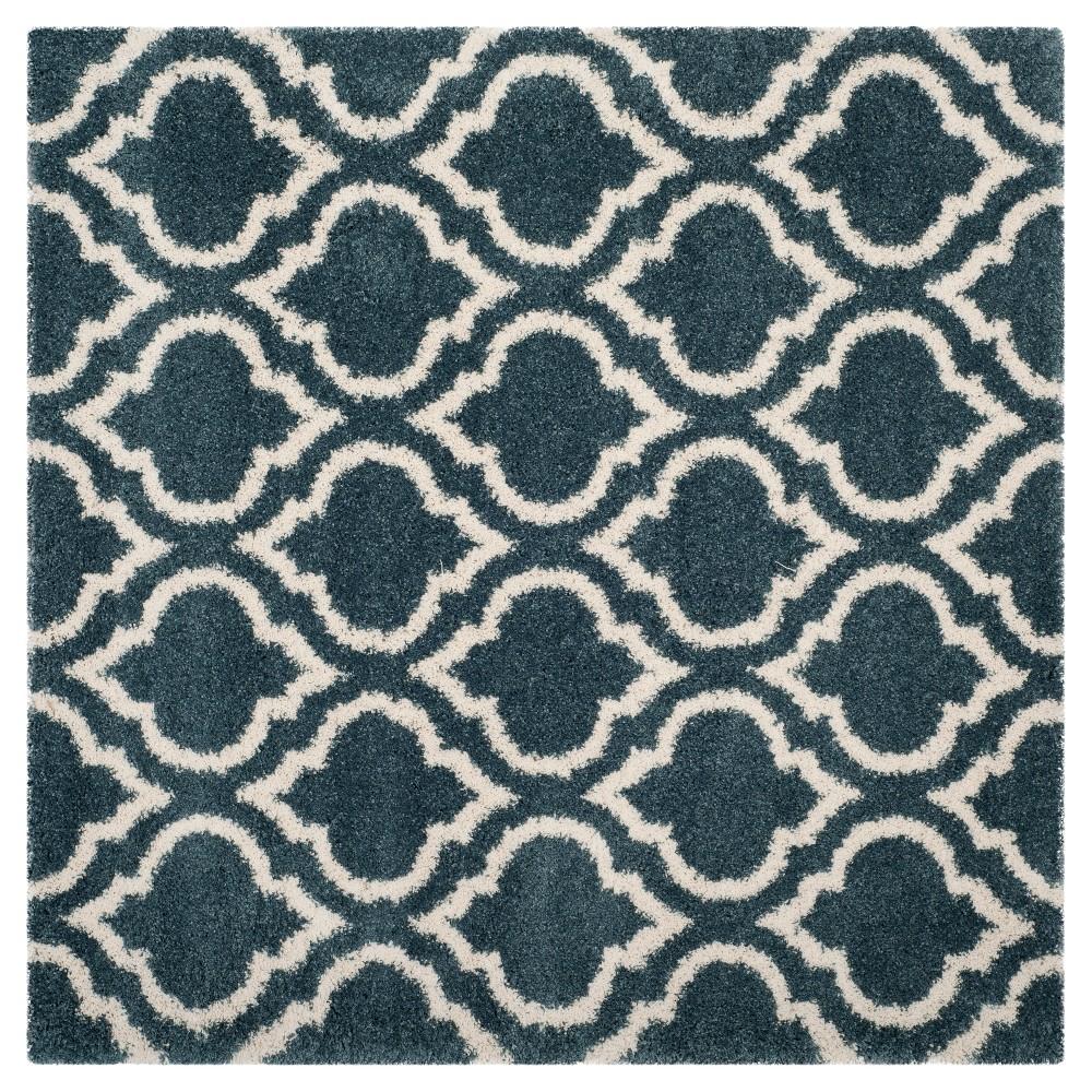 Slate Blue/Ivory Geometric Shag and Flokati Loomed Square Area Rug 7'X7' - Safavieh