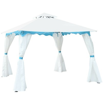 Costway 2 Tier 10'x10' Patio Gazebo Canopy Tent Steel Frame Shelter Awning W/Side Walls