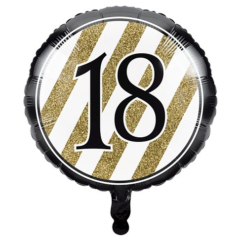 Black Gold 18th Birthday Mylar Balloon Target