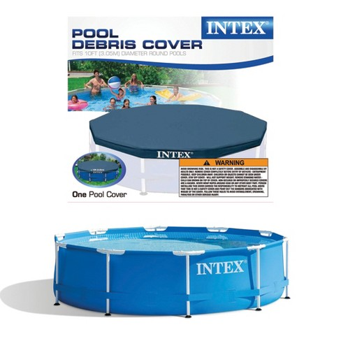 Metal Frame Above Ground Swimming Pool w/ 10 Foot Round Swimming Pool Cover - image 1 of 4