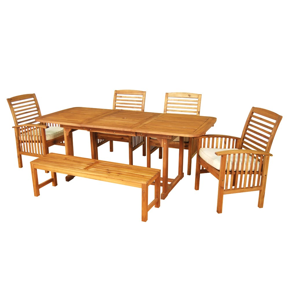6pc Acacia Patio Dining Set with Cushions - Brown - Saracina Home