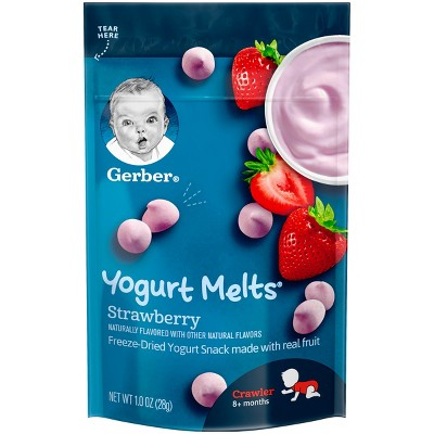 Gerber Yogurt Melts Freeze-Dried Yogurt & Fruit Snacks ,Strawberry - 1oz