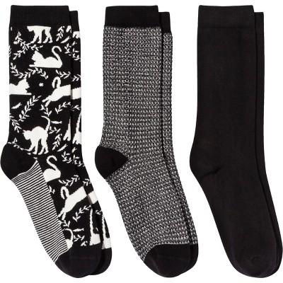 Women's Cat 3pk Crew Socks - A New Day™ Black 4-10
