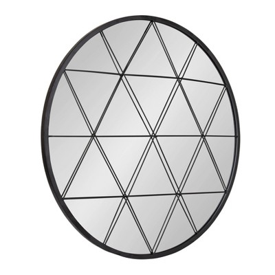 "31.5"" x 31.5"" Faber Round Accent Mirror Black - Kate and Laurel"