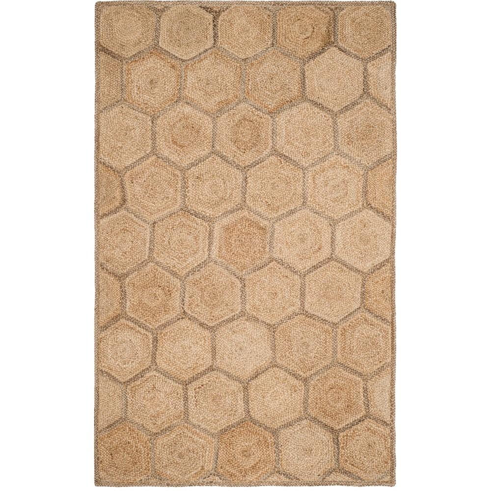 6'X9' Geometric Woven Area Rug Natural/Gray - Safavieh, White