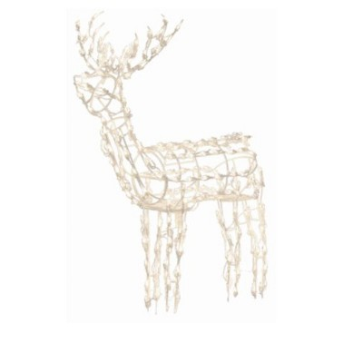 """Brite Star 48"""" Winter Frost Pure White LED Standing Buck Deer Christmas Yard Art Decoration"""