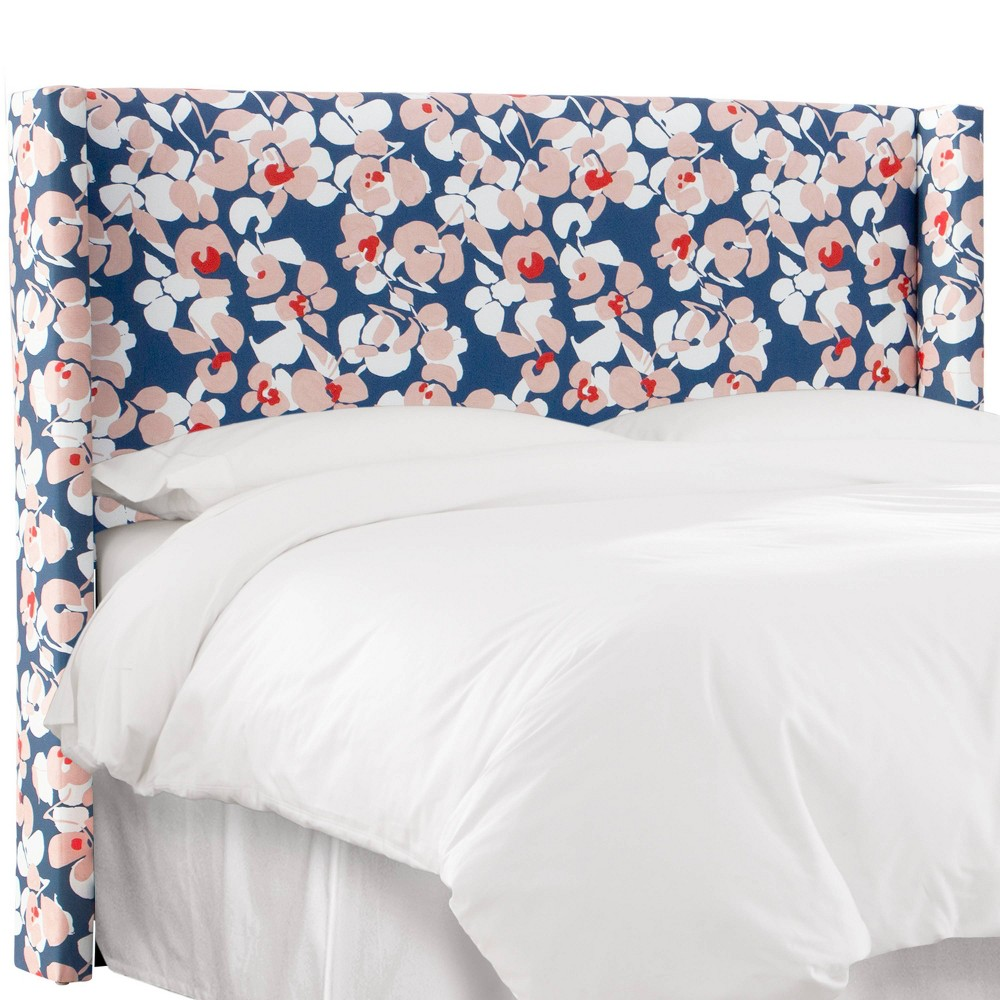 King Wingback Headboard In Color Block Floral Navy/Blush - Cloth & Co., Blue