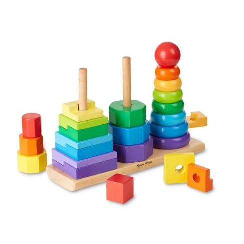 Melissa & Doug Geometric Stacker - Wooden Educational Toy - image 1 of 4