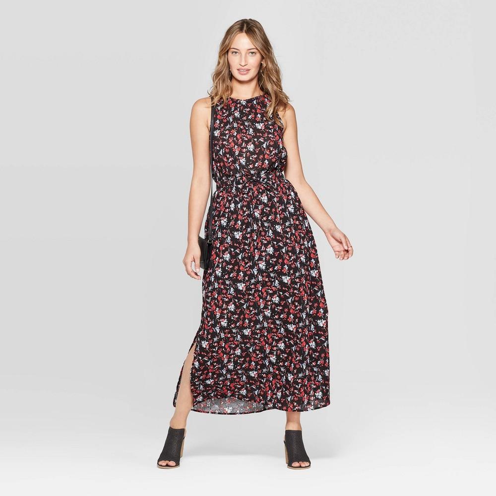 Women's Sleeveless Floral Print Maxi Dress - Universal Thread Black M