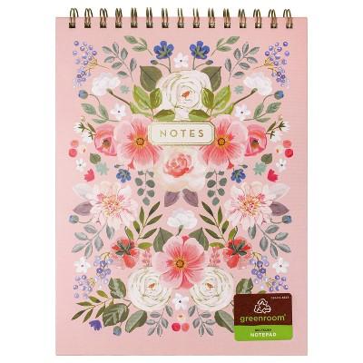"8"" x 10"" 80 Sheet Lined Spiral Notepad Floral - greenroom"