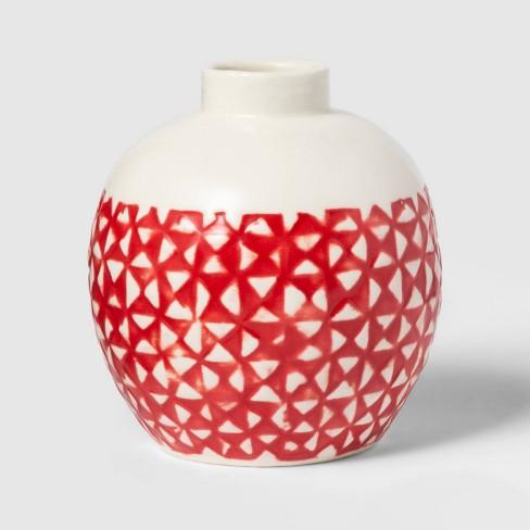 "4"" x 3.6"" Stoneware Block Print Vase White/Red - Threshold™ - image 1 of 1"