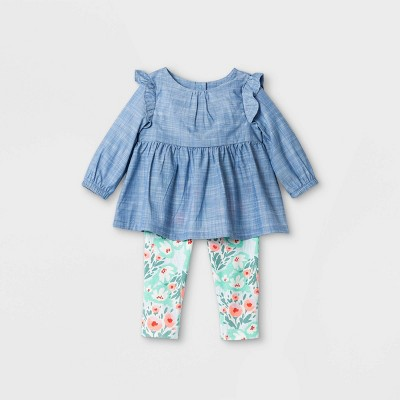 Baby Girls' Chambray Tunic Top & Bottom Set - Cat & Jack™ Blue 3-6M