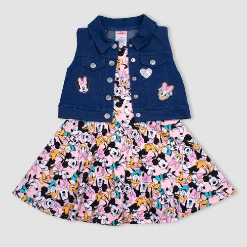 Toddler Girls' 2pc Disney Minnie Mouse Crew Dress and Vest Set - image 1 of 1