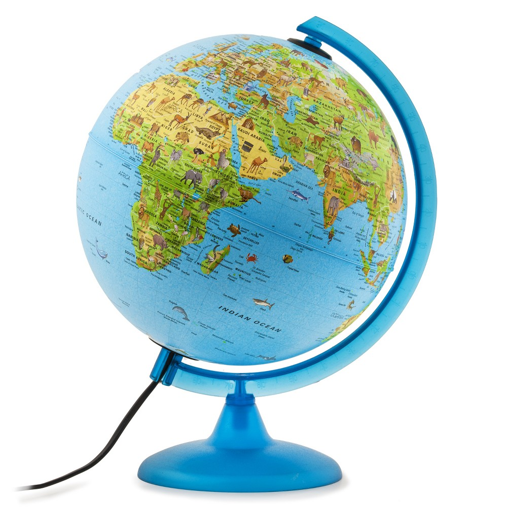 "Image of ""10"""" Illuminated Safari Explorer World Globe Blue - Waypoint Geographic"""