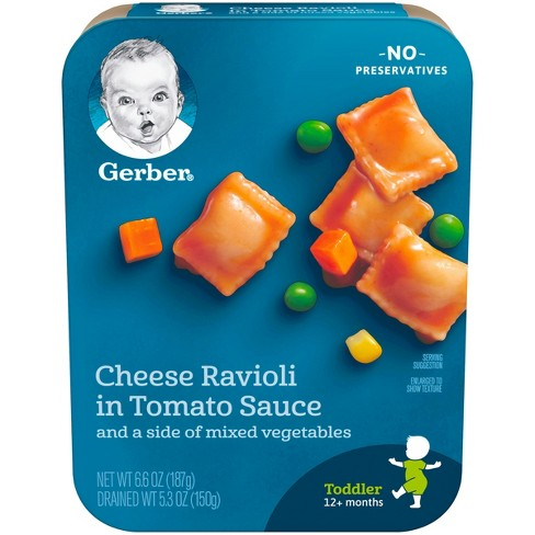 Gerber Lil' Entrees Cheese Ravioli in Tomato Sauce with Mixed Vegetables - 6.6oz - image 1 of 4