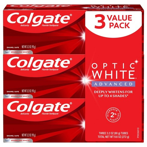 Colgate Optic White Teeth Whitening Toothpaste Sparkling White 3 2oz 3pk Target