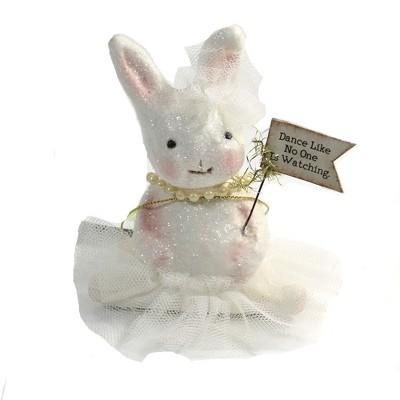 "Easter 4.0"" Ballerina White Bunny Ballet Dance Tulle Tutu  -  Decorative Figurines"