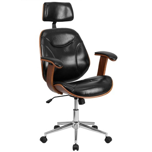High Back Leather Executive Ergonomic Wood Swivel Office Chair With Arms Black Riverstone Furniture Target