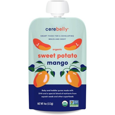 Cerebelly Clean Label Project Purity Award Winning,   Sweet Potato Mango Organic Baby Food Pouch - 4oz