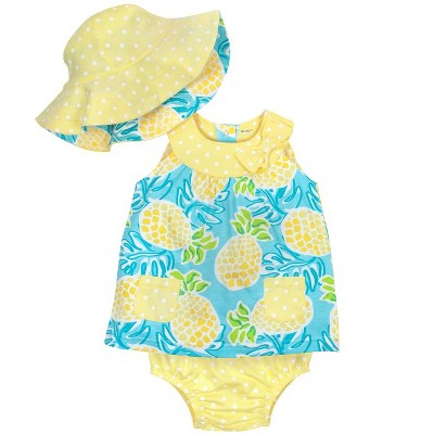 Gerber® Baby Girls' 3pc Pineapple Dress, Panty and Reversible Hat - Blue/Yellow 6-9M