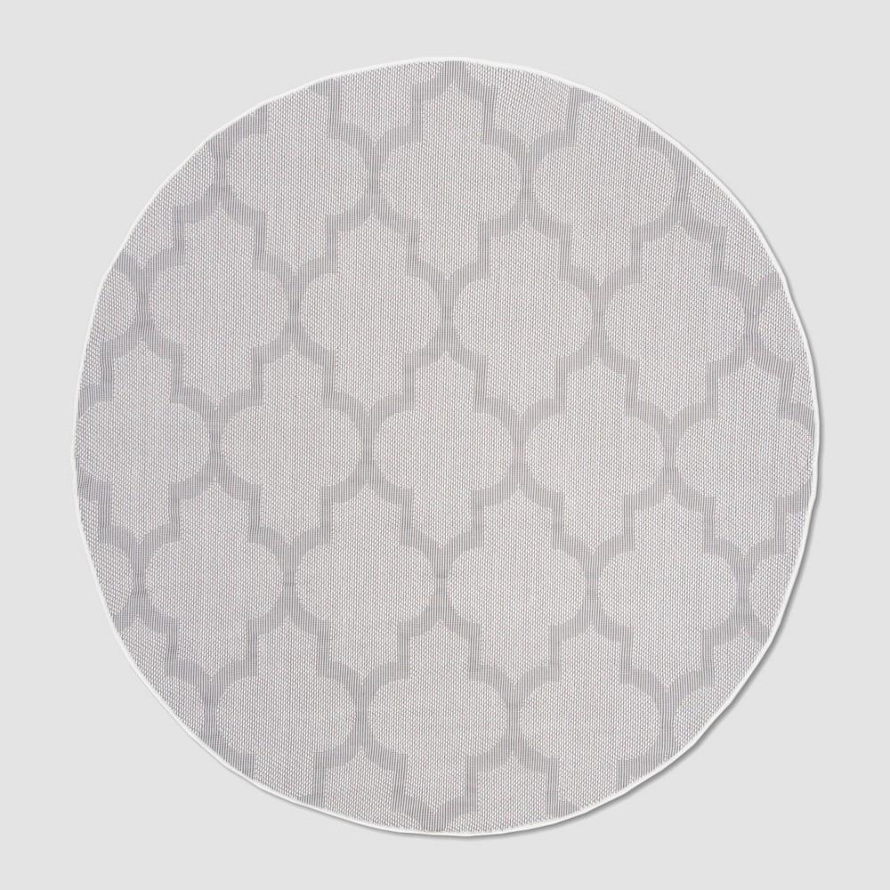 Rafaela 6'7 Round Outdoor Rug Ivory/Light Gray - Safavieh