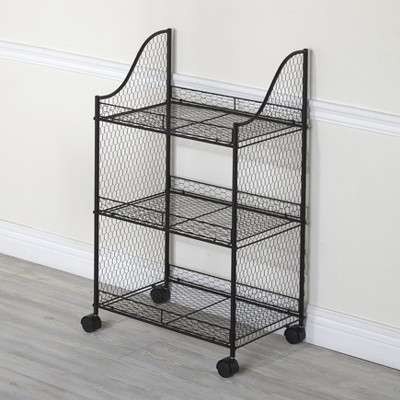 Lakeside Rolling Storage Cart With Metal Wire, Vintage Look For Kitchens, Bathrooms : Target