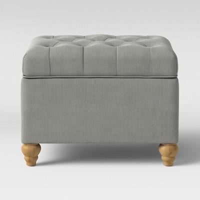 Frankford Tufted Storage Ottoman Light Gray - Threshold™