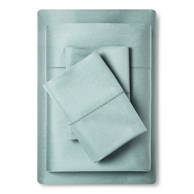 Supima Classic Hemstitch Sheet Set (King)Smoke Green 700 Thread Count - Fieldcrest™