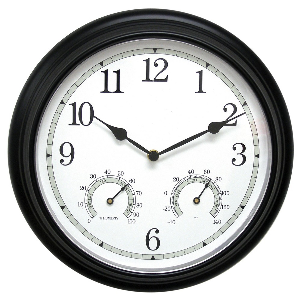 Image of 13.5 Metal Outdoor / Indoor Wall Clock with Thermometer and Humidity - Black - Acurite