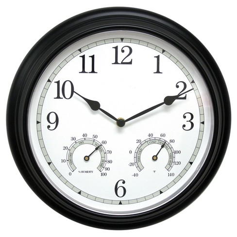 "13.5"" Metal Outdoor / Indoor Wall Clock with Thermometer and Humidity - Acurite - image 1 of 3"