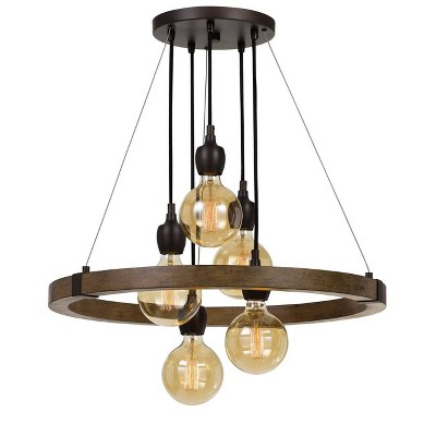 "26.25"" x 26.25"" Metal/Wood Round Martos Chandelier (Includes Energy Efficient Light Bulb) Dark Brown - Cal Lighting"
