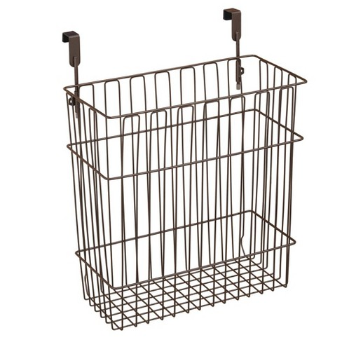 mDesign Hanging Over Cabinet Door Kitchen Storage Basket/Trash Can - Bronze