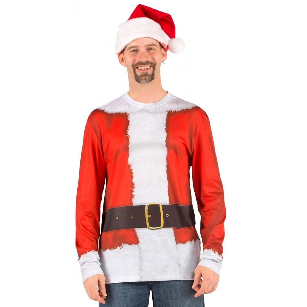 Men's Santa Long Sleeve Costume T-Shirt - X-Large, Size: XL, Multicolored