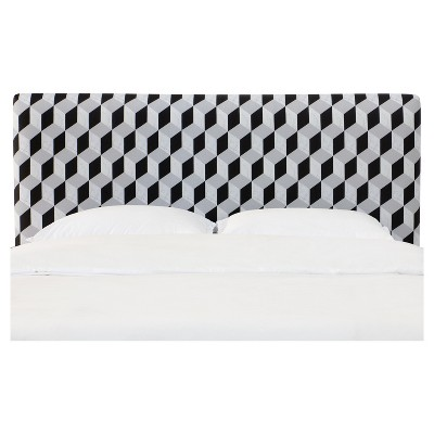 Olivia Upholstered Headboard - Twin - Marble Cube Black - Skyline Furniture