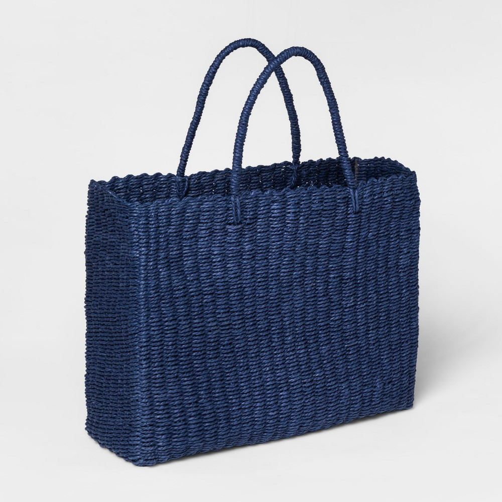 "Image of ""20"""" x 15"""" Twisted Paper Tote With Handles Blue - Threshold"""