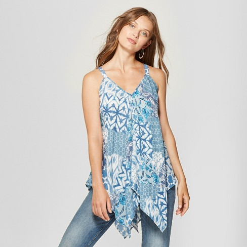 441c436b242ca Women s Floral Print Handkerchief Hem Tank Top - Spenser Jeremy - Blue