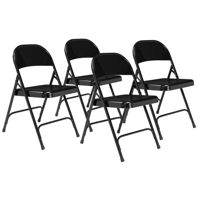 Set of 4 Heavy Duty All Steel Folding Chairs Black - Hampton Collection