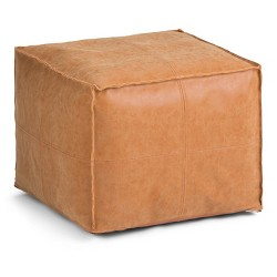 Wendal Square Pouf Distressed Brown Faux Leather - Wyndenhall