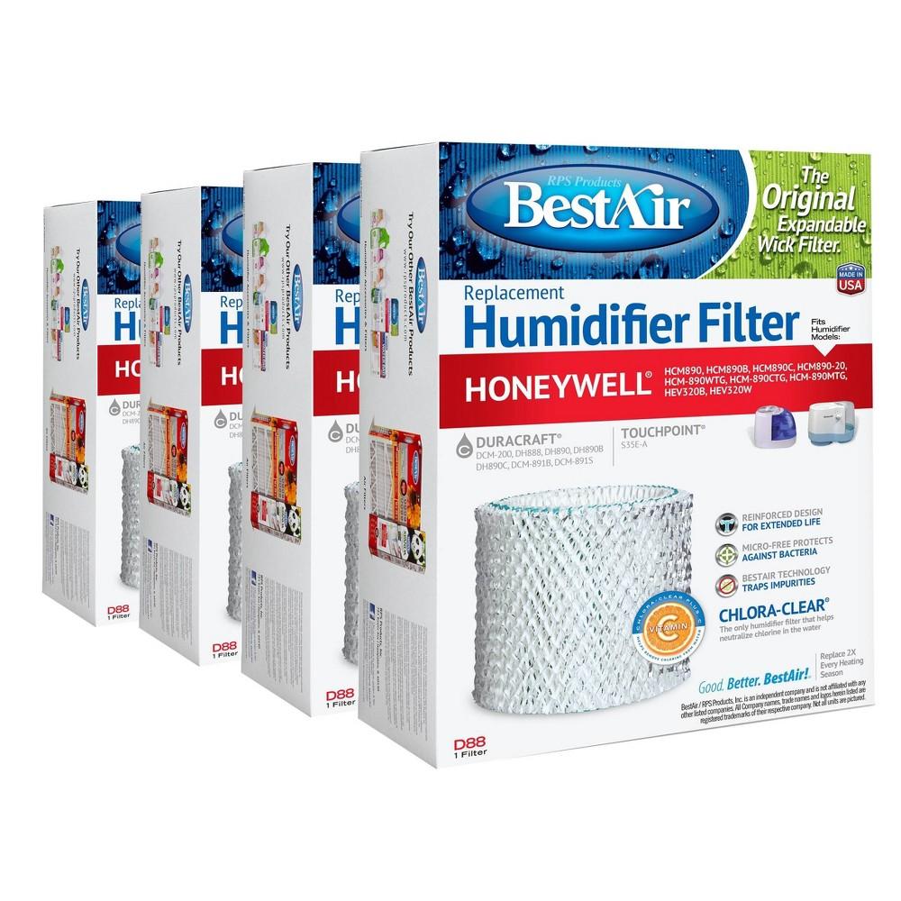 Bestair 4pk D88 Humidifier Air Control Filter For Honeywell