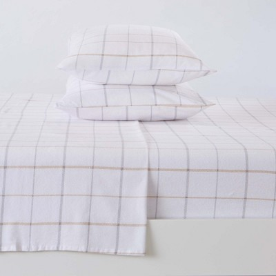 Great Bay Home 100% Cotton Flannel Windowpane Sheet Set