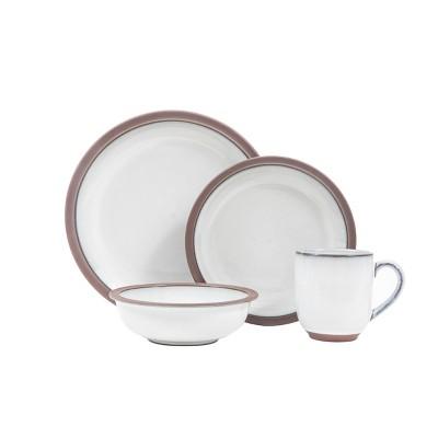 16pc Stoneware Eterra Dinnerware Set White/Brown - Sango