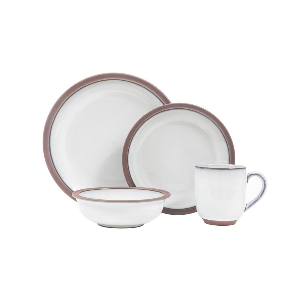 Image of 16pc Stoneware Eterra Dinnerware Set White/Brown - Sango
