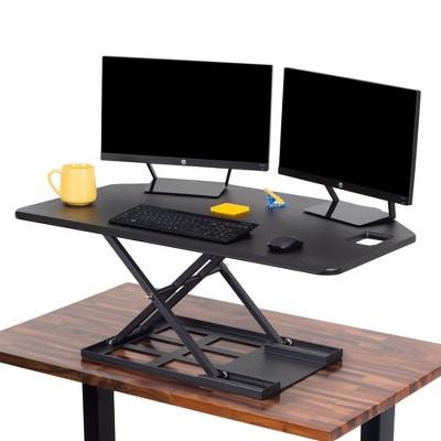 X-Elite Premier Corner Standing Desk Converter with Pneumatic Height Adjustment - Black – Stand Steady