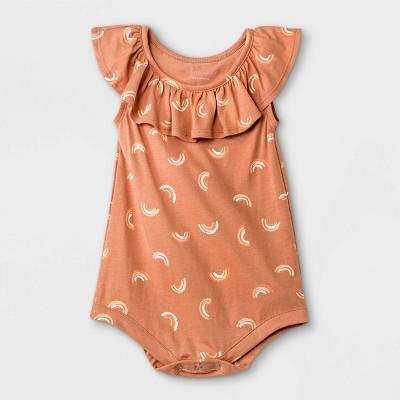 Grayson Mini Baby Girls' Rainbow Ruffle Bodysuit - Orange 3-6M